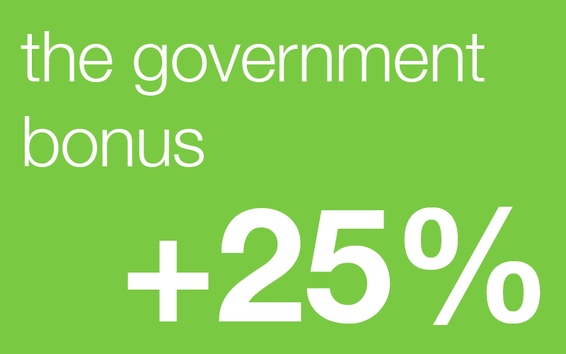 the government bonus of 25%
