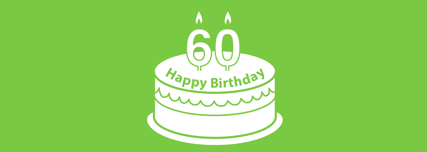 Graphic of a birthday cake with candles saying 60.