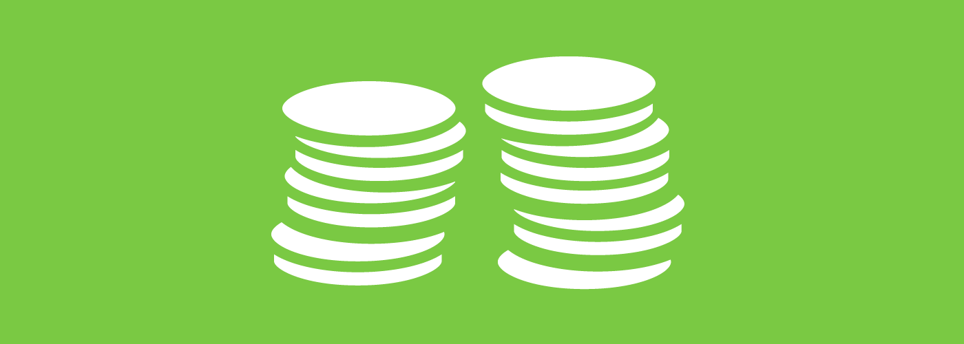 Graphic of two stacks of coins.