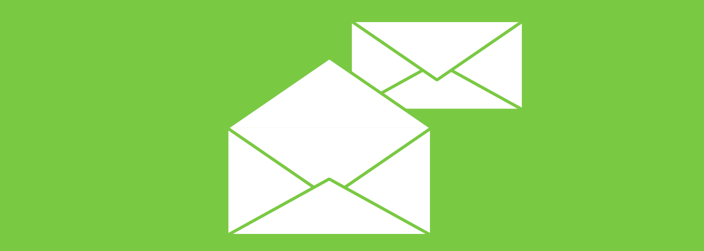 Graphic of one closed and one open envelope.